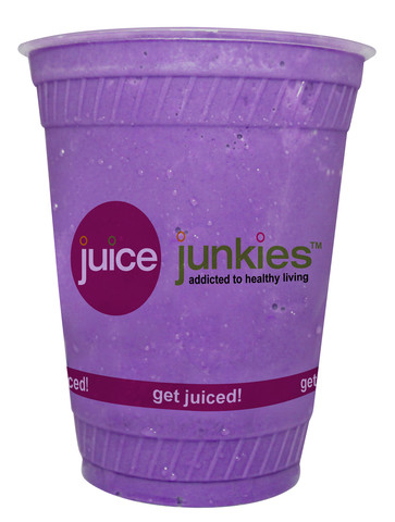 purple frog superfood smoothie at juice junkies